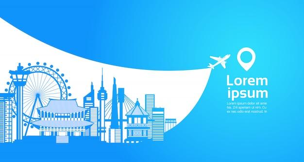 Corée du sud silhouette de tourisme célèbres sites touristiques de séoul concept de destination de voyage Vecteur Premium