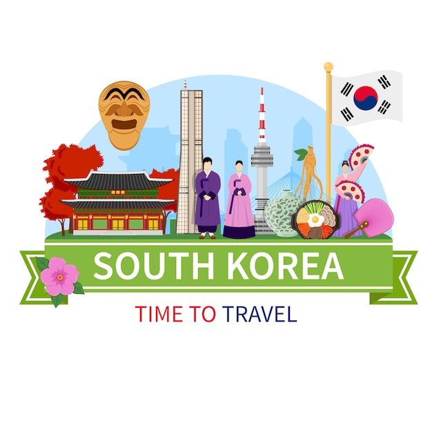 Corée voyage composition plat Vecteur gratuit