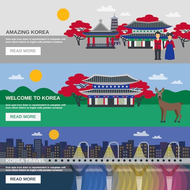 Coréen culture 3 set de bannières plates Vecteur gratuit