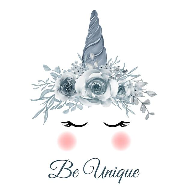 Corne Bleue Licorne Avec Illustration Aquarelle Rose Bleu Vecteur gratuit
