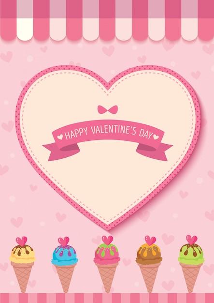 Cornet de glace avec coeur pour la saint valentin Vecteur Premium