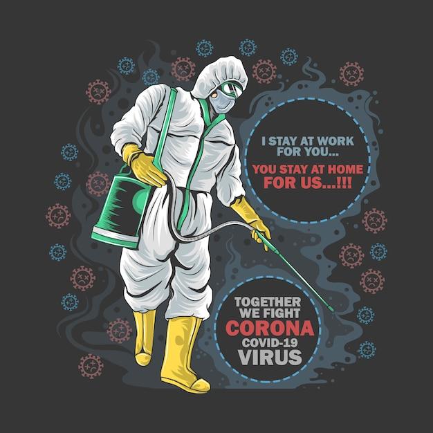 Corona Virus Doctor Protection Desinfectant Masque Médical Et Oeuvre De Fumée Vecteur Premium