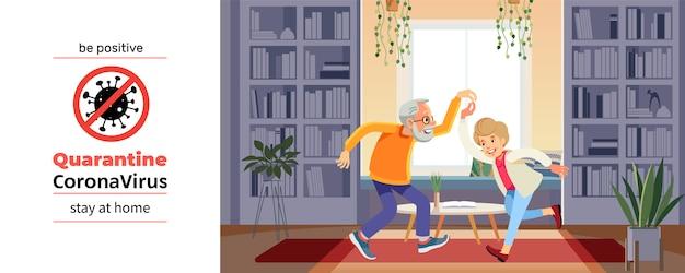 Coronavirus Covid-19, Affiche De Motivation De Quarantaine. Beau Couple De Personnes âgées Danse Et Sourit Pendant La Crise Des Coronavirus. Soyez Positif Et Restez à La Maison Citation Illustration De Dessin Animé Vecteur Premium