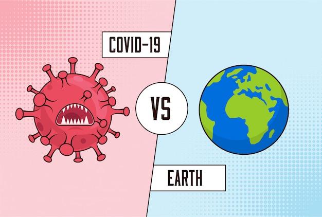 Coronavirus Covid-19 Vs Terre. Lutte Mondiale Contre Le Virus Corona. Versus Concept. Vecteur Premium
