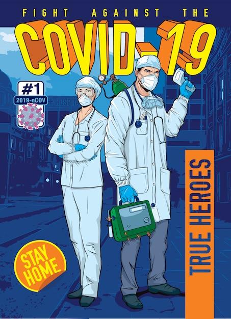 Coronavirus Hq - True Heroes Vecteur Premium