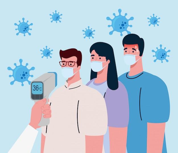 Coronavirus, Main Tenant Un Thermomètre Infrarouge Pour Mesurer La Température Corporelle, Les Gens Vérifient La Température Vecteur Premium