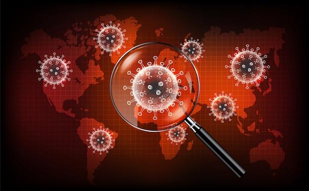 Coronavirus maladie covid-19 infection médicale avec loupe sur la carte du monde. nouveau nom officiel pour la maladie à coronavirus nommé covid-19, concept de dépistage des coronavirus, illustration Vecteur Premium