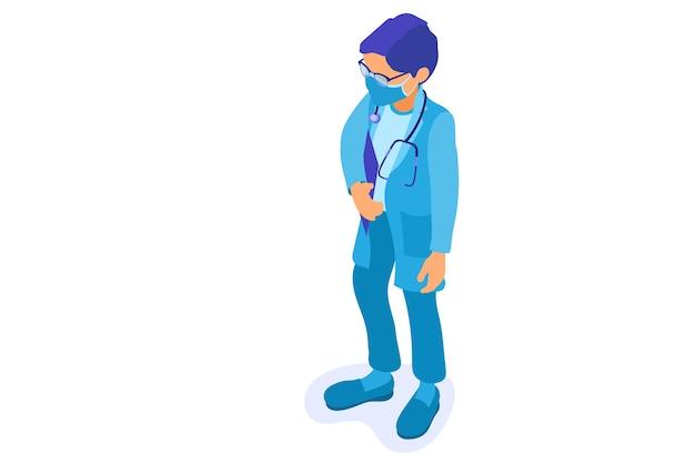 Coronavirus. Médecin En Masque Avec Stéthoscope Et Presse-papiers Arrête Le Coronavirus. Vecteur Premium