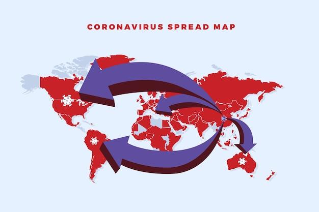 Le Coronavirus Se Propage Sur La Carte Du Monde Vecteur gratuit
