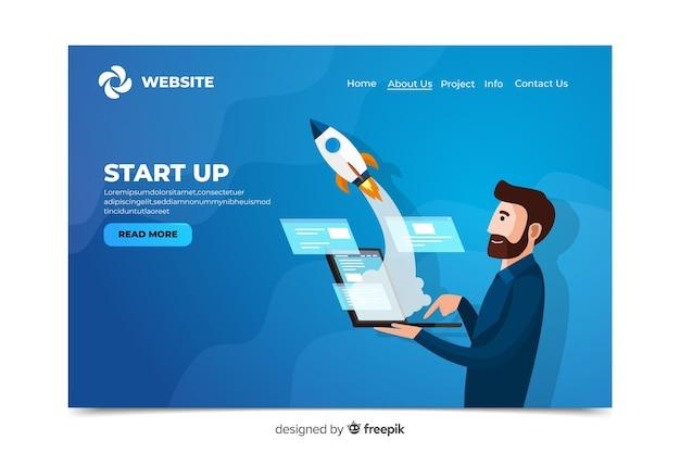 Corporative start up landing page Vecteur gratuit