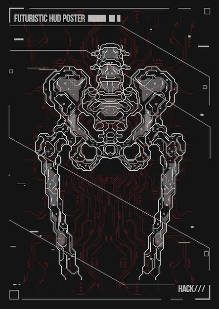 Corps De Conception D'affiches Avec Des éléments De Hud Futuriste. Hologramme Anatomie Humaine Et Squelette. Vecteur Premium
