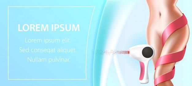 Corps De Femme Avec Dentelle Rouge Sur La Jambe Et épilateur Laser Vecteur Premium