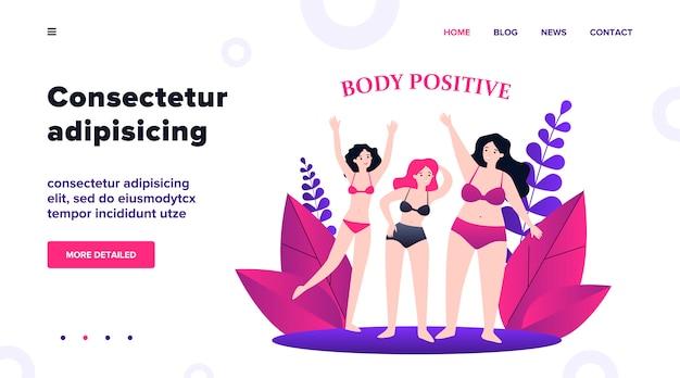 Corps Des Personnages Féminins Positifs En Bikini Agitant Par Les Mains Illustration. Filles De Taille Plus Heureuse En Maillot De Bain Avec Des Chiffres Différents. Beauté Et Concept De Mode De Vie Sain Et Actif Vecteur Premium