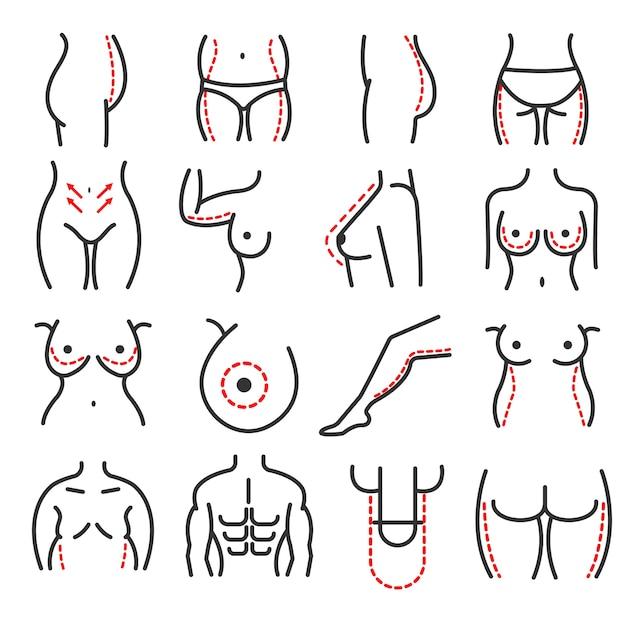 Corps en plastique chirurgie esthétique vecteur ligne icônes définies Vecteur Premium