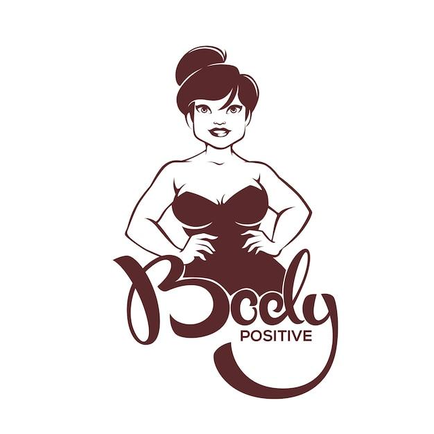 Corps Positif, Heureux Et Beau, Taille Plus Fille Rinup Et Composition De Lettrage Pour Votre Logo, Emblème, étiquette Vecteur Premium