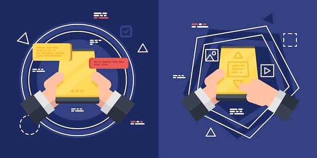 Correspondance Sur L'écran Du Smartphone, Homme D'affaires Main Tenant Le Téléphone. Vecteur Premium