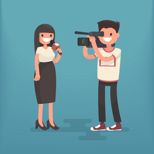 Correspondante Avec Un Caméraman. Journaliste De Télévision De L'emploi Vecteur Premium