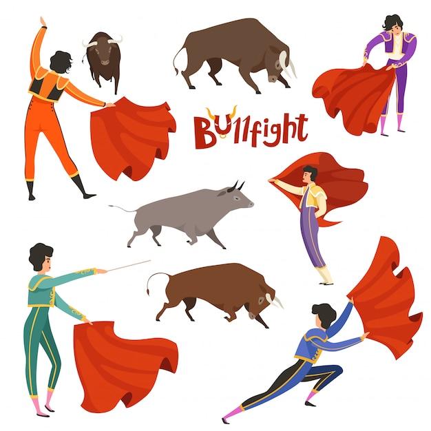 Corrida taurine. illustration vectorielle de matador et taureau dans diverses poses dynamiques Vecteur Premium