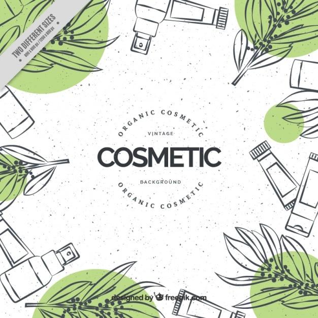 cosmétiques dessinés à la main fond naturel Vecteur gratuit