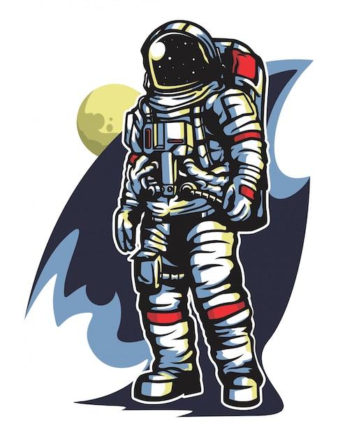 Cosmonaut dans le vecteur de l'espace Vecteur Premium