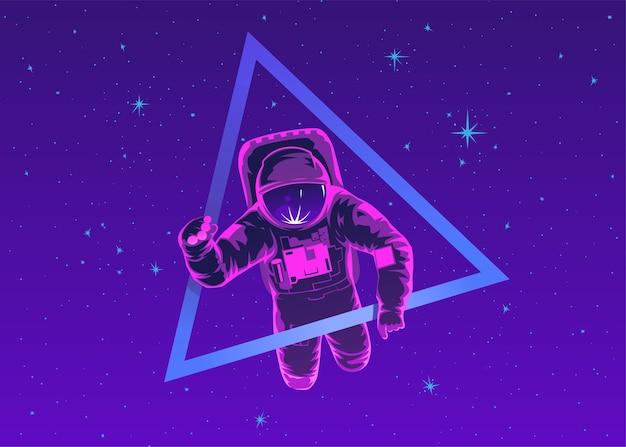 Cosmonaute En Combinaison Spatiale Effectuant Une Sortie Dans L'espace Contre Les étoiles Et Les Planètes En Arrière-plan. Vol Dans L'espace. Vol Spatial Humain. Illustration Colorée Moderne. Vecteur Premium