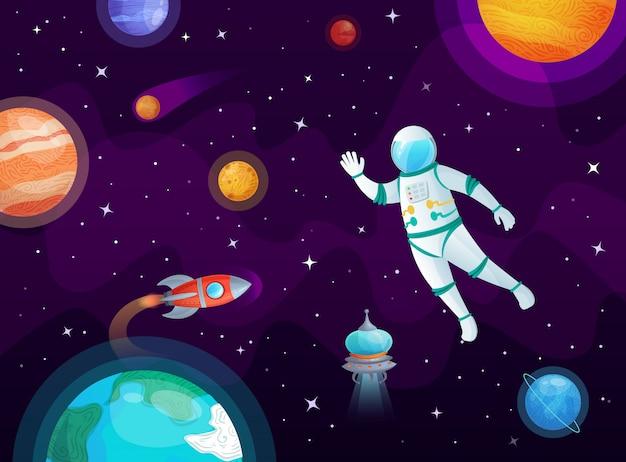 Cosmonaute Dans L'espace. Fusée Astronaute Vaisseau Spatial En Espace Ouvert, Planètes De L'univers Et Illustration De Dessin Animé Planétaire Vecteur Premium