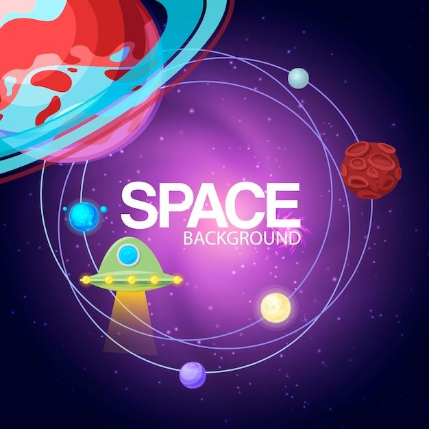 Cosmos de fond de l'espace avec des planètes Vecteur Premium