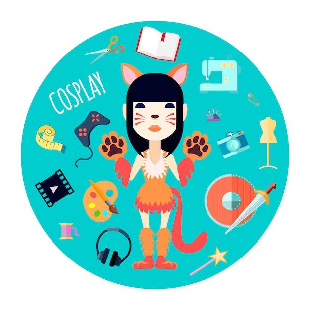 Cosplayer personnage fille en costume de chat et accessoires de mode Vecteur gratuit