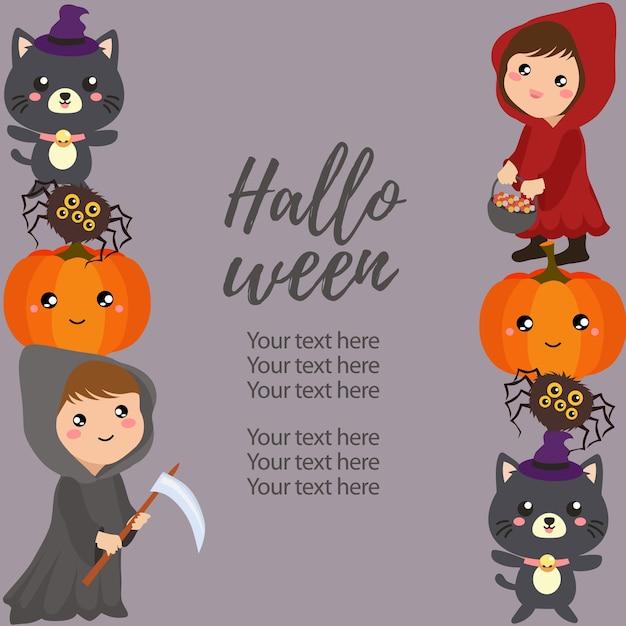 Costume de bordure verticale halloween costume de hotte rouge Vecteur Premium