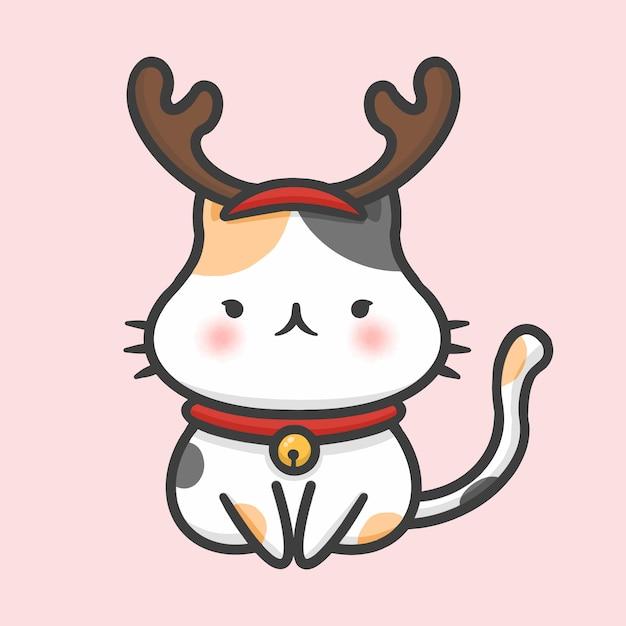 Costume de chat mignon rennes style de dessin animé dessiné à la main de noël Vecteur Premium
