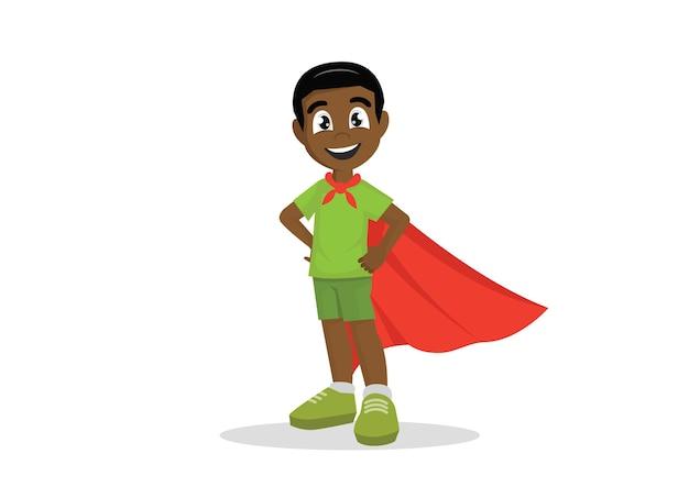 Costume de garçon africain en super héros. Vecteur Premium