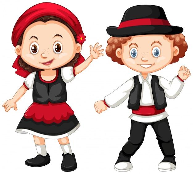 Costume de garçon et fille en roumanie Vecteur gratuit