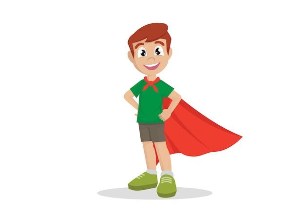 Costume de garçon en super-héros. Vecteur Premium