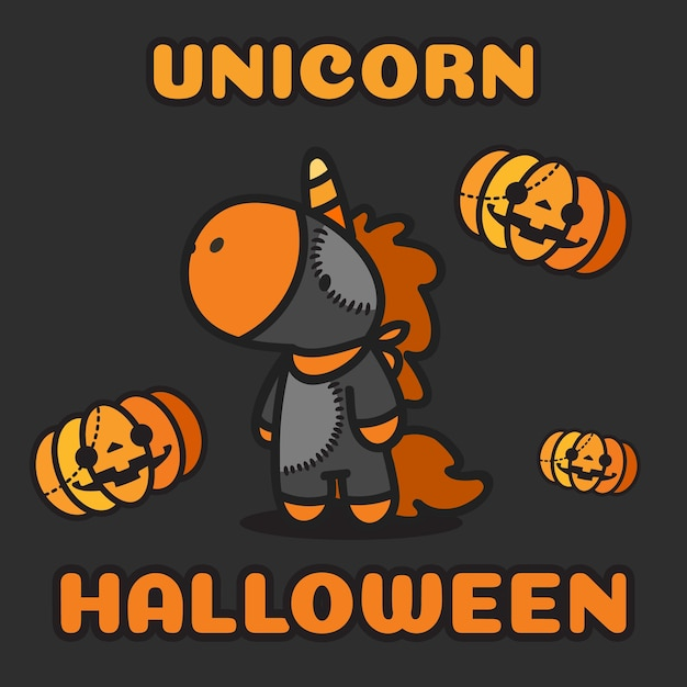 Costume d'halloween licorne et citrouilles volant autour. Vecteur Premium