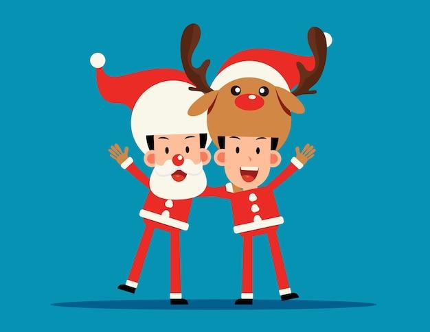 Costume De Noël. Père Noël Et Renne Bras Sur L'épaule. Vecteur Premium