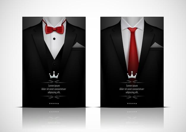 inégale en performance dessin de mode chaussures d'automne Costume noir et smoking avec nœud papillon rouge ...