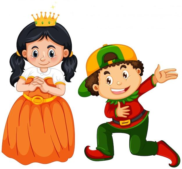 Costume de prince et princesse sur blanc Vecteur gratuit