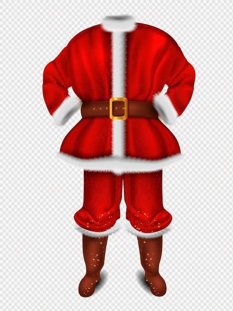 Costume Rouge Réaliste Du Père Noël Pour L'illustration De Noël Vecteur Premium