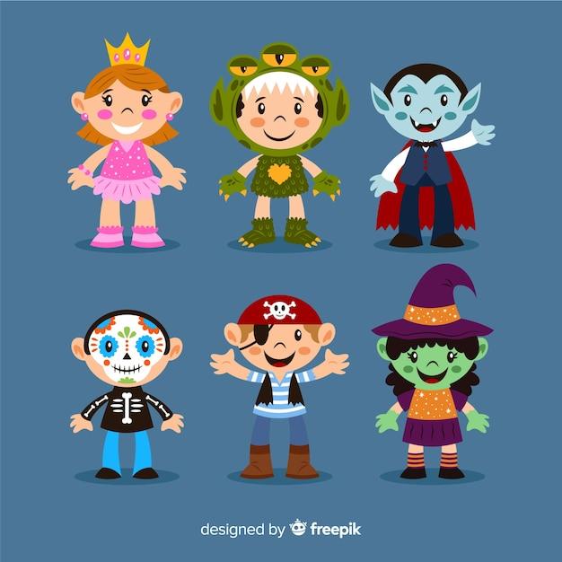 Costumes de bande dessinée pour les enfants sur halloween Vecteur gratuit