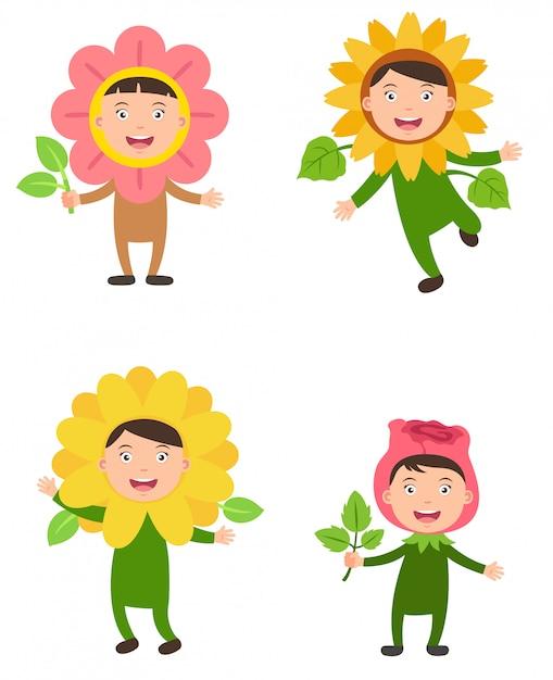 Costumes Fleur Vecteur Enfants Vecteur Premium