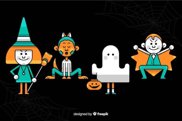 Costumes jaunes et bleus pour enfants sur halloween Vecteur gratuit