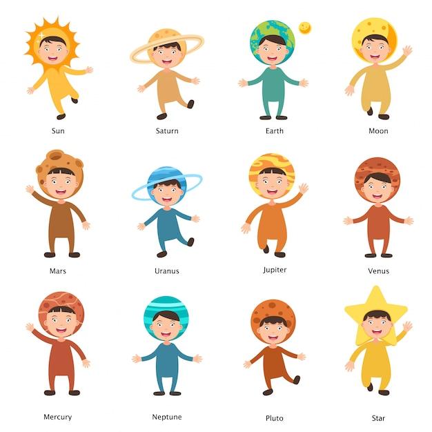 Costumes Système Solaire Enfants Vecteur Vecteur Premium