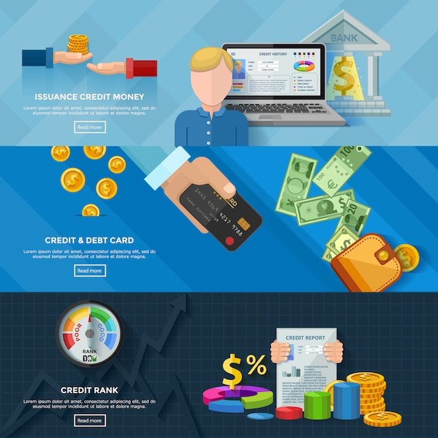 Cote de crédit bannières horizontales Vecteur gratuit