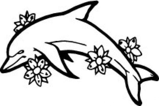 C t dauphin avec des fleurs t l charger des vecteurs for What does a dolphin tattoo symbolize