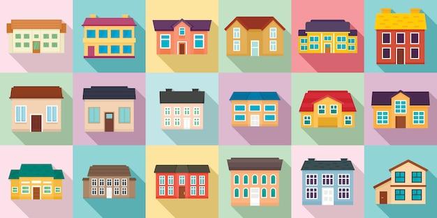 Cottage icônes définies, style plat Vecteur Premium
