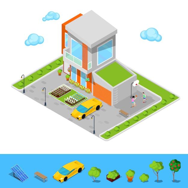 Cottage moderne avec garage, terrain de basket et toit vert. Vecteur Premium