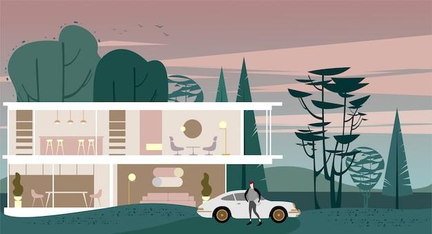 Cottage vitré avec toit plat en banlieue. Vecteur Premium