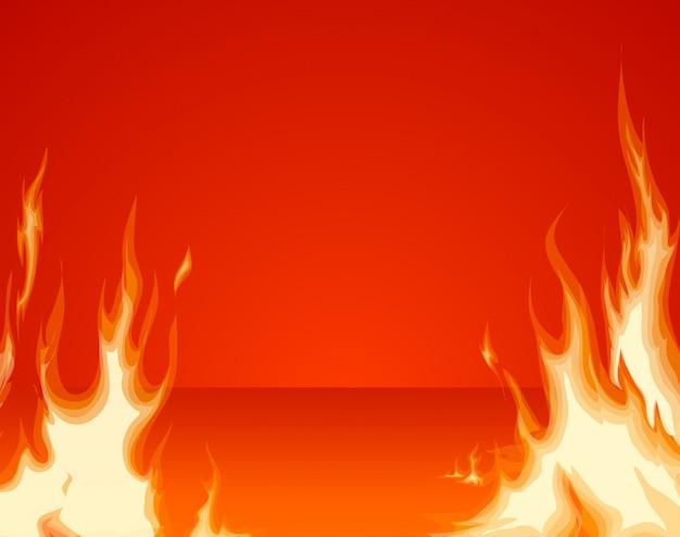 Couche avant de feu brûlant sur fond de salle rouge Vecteur Premium