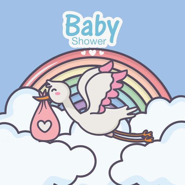 Couche de bébé cigogne douche nuages arc-en-ciel rose Vecteur Premium