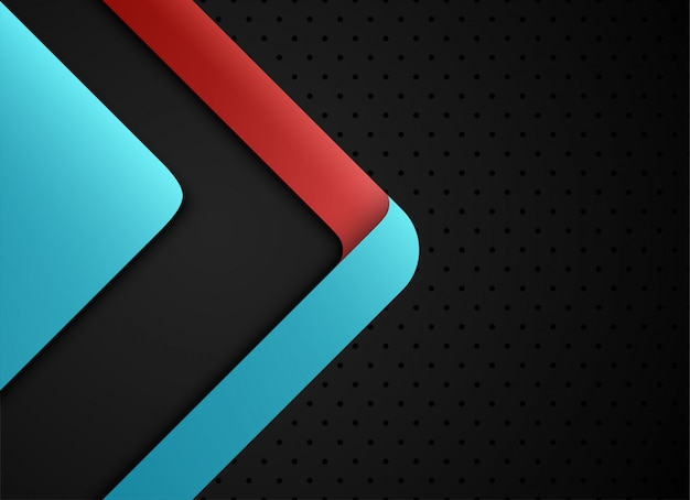Couche géométrique et chevauchement bleu et rouge sur fond gris. Vecteur Premium